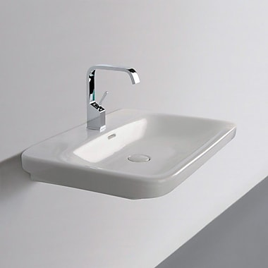 WS Bath Collections Ceramica Start 20'' Wall mounted Bathroom Sink w/ Overflow; Single Hole