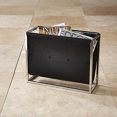 Global Views Magazine Caddy Rack; Black Leather