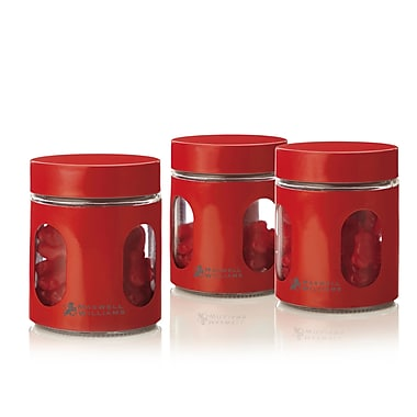 Maxwell & Williams Cosmopolitan Colours Set of 3 Canisters, 600ml, Red, 2/Pack