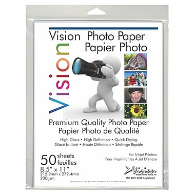 Vision 728511G50 Glossy Photo Paper, 8 1/2 x 11, 50/Pack