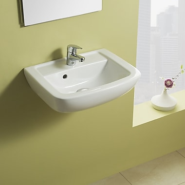 Bissonnet Universal Ceramic 18'' Wall Mount Bathroom Sink w/ Overflow