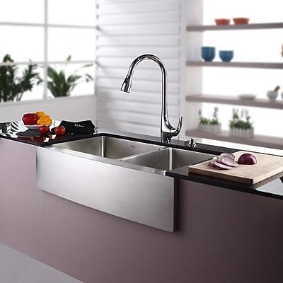 Kraus 35.88'' x 20.75'' Double Basin Farmhouse Kitchen Sink w/ Faucet and Soap Dispenser; Chrome