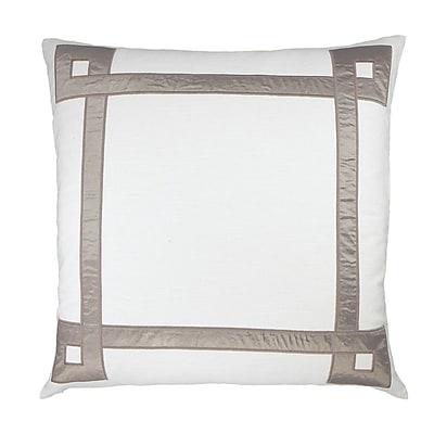 NECTARmodern Applique Ribbon Embroidered Throw Pillow; White