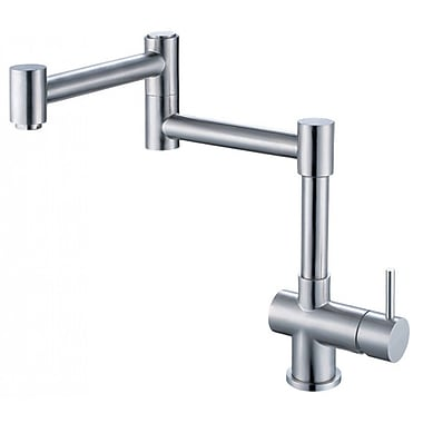 Alfi Brand Single Handle Deck Mount Retractable Kitchen Faucet; Brushed Stainless Steel