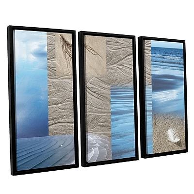 ArtWall 'Sand Sea' by Cora Niele 3 Piece Framed Graphic Art on Canvas Set; 36'' H x 54'' W x 2'' D