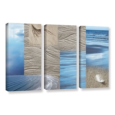 ArtWall 'Sand Sea' by Cora Niele 3 Piece Graphic Art on Wrapped Canvas Set; 24'' H x 36'' W x 2'' D