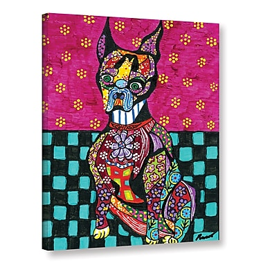ArtWall 'Boston Terrier' by Debra Purcell Graphic Art on Wrapped Canvas; 18'' H x 14'' W