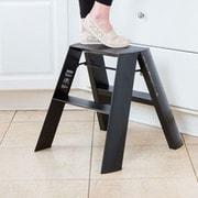 Lucano 2-Step Aluminum Wide Step Stool w/ 300 lb. Load Capacity; Orange