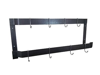 Rogar Offset Double Wall Mounted Pot Rack; Hammered Steel