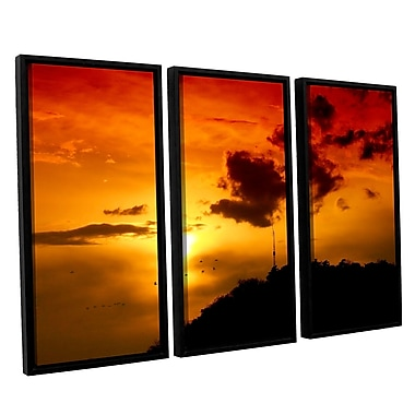 ArtWall 'Red Sky' by Dragos Dumitrascu 3 Piece Framed Photographic Print on Canvas Set