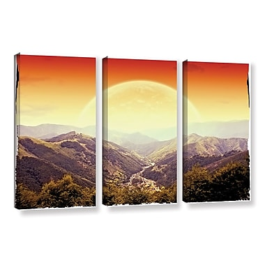 ArtWall 'Highland Sunset' by Dragos Dumitrascu 3 Piece Photographic Print on Wrapped Canvas Set