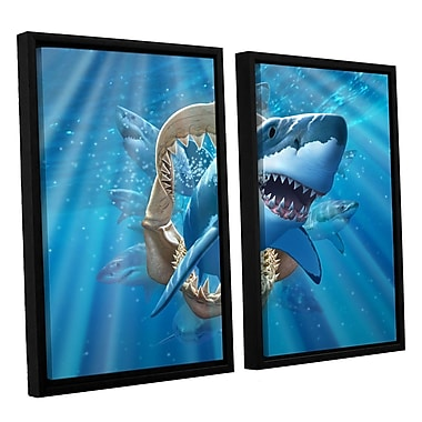 ArtWall 'Great Shark' by Jerry Lofaro 2 Piece Framed Graphic Art on Wrapped Canvas Set