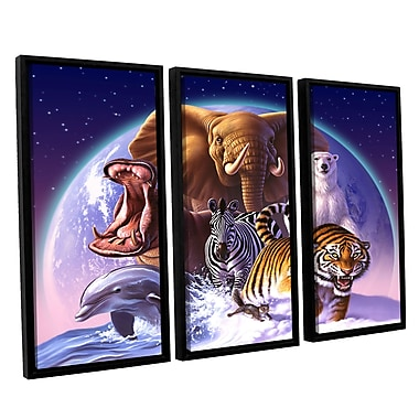 ArtWall 'Wild World' by Jerry Lofaro 3 Piece Framed Graphic Art on Wrapped Canvas Set