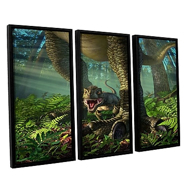 ArtWall 'Wee Rex' by Jerry Lofaro 3 Piece Framed Graphic Art on Wrapped Canvas Set