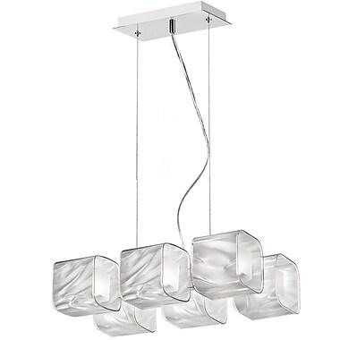 Dainolite Fabric Glass 6 Light Pendant