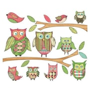 4 Walls Owls Branches Pre-Pasted Accent Wall Decal; Pink