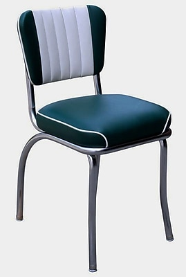 Richardson Seating Retro Home Side Chair w/ Two Toned Channel Back; Green