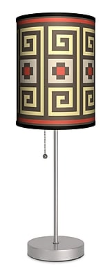 Lamp-In-A-Box Decor Art Greek Spiral 20'' Table Lamp; Red and Brown