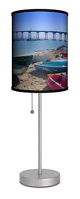 Lamp-In-A-Box Artist Sean Davey ''Coronado Bridge and Boats'' 20'' Table Lamp
