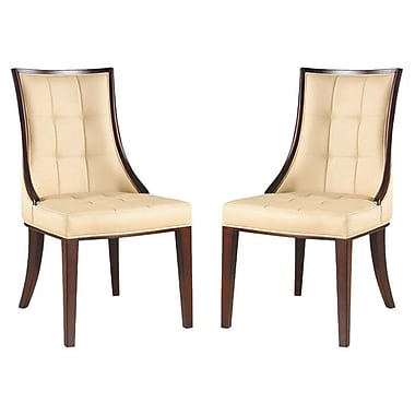 Ceets Barrel Genuine Leather Upholstered Dining Chair (Set of 2); Cream