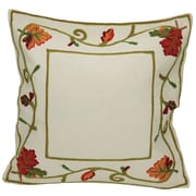 Xia Home Fashions Harvest Vine Crewel Embroidered Harvest Cotton Pillow Cover