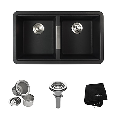 Kraus 32.5'' x 18.88'' Double Basin Undermount Kitchen Sink