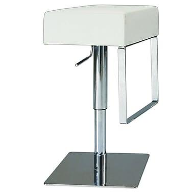 Chintaly Adjustable Height Swivel Bar Stool; White