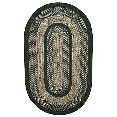 Thorndike Mills Town Crier Green Indoor/Outdoor Rug; Oval 2'3'' x 4'