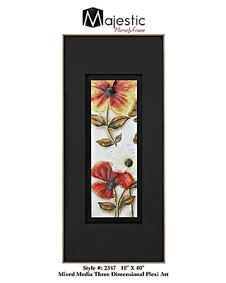 Majestic Mirror Plexiglass Rectangular Contemporary Floral Framed Painting Print