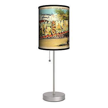 Lamp-In-A-Box Travel Wisconsin Postcard 20'' Table Lamp