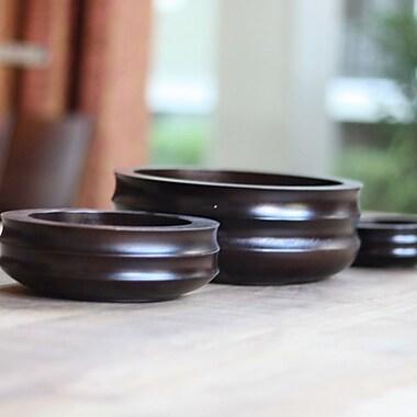 Timbergirl Acacia Wood Decorative Bowl 3 Piece Set; Dark Brown