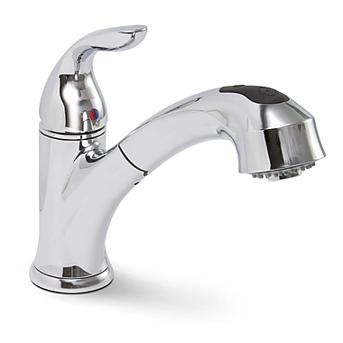 Premier Faucet Waterfront Single Handle Single Hole Kitchen Faucet w/ Pull-Out Spray; Chrome