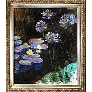 Tori Home Water Lilies and Agapanthus by Claude Monet Framed painting