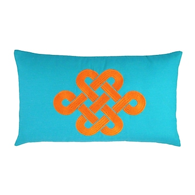 NECTARmodern Fortune Knot Chinoserie Embroidered Throw Pillow; Teal