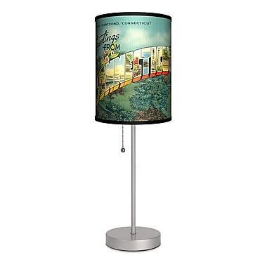 Lamp-In-A-Box Travel Connecticut Postcard 20'' Table Lamp