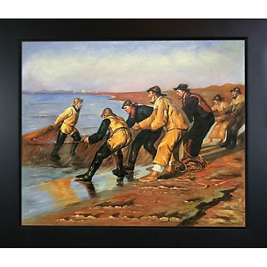 Tori Home Fishermen Hauling Nets by Kroyer Blacksmith Framed Hand Painted Oil on Canvas