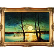 Tori Home Moon by Justyna Kopania Framed Hand Painted Oil on Canvas