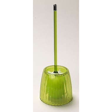 Carnation Home Fashions Acrylic Ribbed Free Standing Toilet Brush and Holder; Palm Green