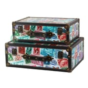 Quickway Imports World Stamp Travel Suitcase