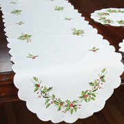 Xia Home Fashions Mistletoe Embroidered Table Runner; 72'' W x 15'' L