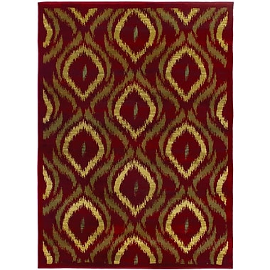 ECARPETGALLERY Ikat Red/Brown Abstract Area Rug; 5'5'' x 7'8''