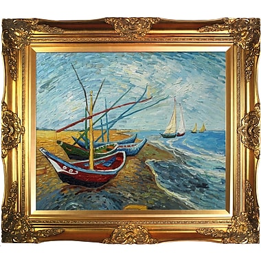 Tori Home Fishing Boats on the Beach at SaintesMaries by Vincent Van Gogh Framed Painting