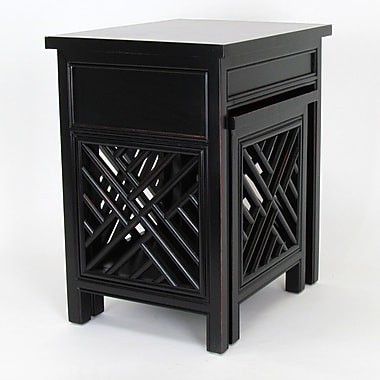 Wayborn Lattic 2 Piece Nesting Tables; Antique Black