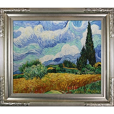 Tori Home Wheat Field w/ Cypresses by Vincent Van Gogh Framed Painting