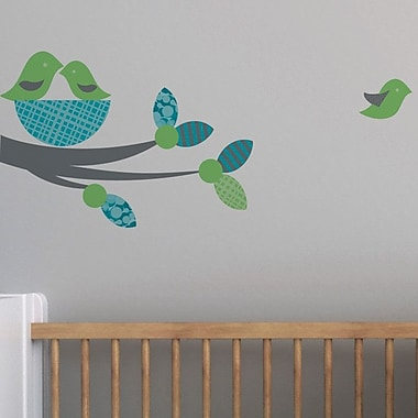 Trendy Peas Nesting Birds Wall Decal; Gray / Grass Green / Teal