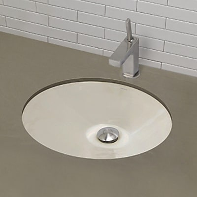 DecoLav Mayah Classically Redefined Ceramic Oval Undermount Bathroom Sink w/ Overflow; Biscuit