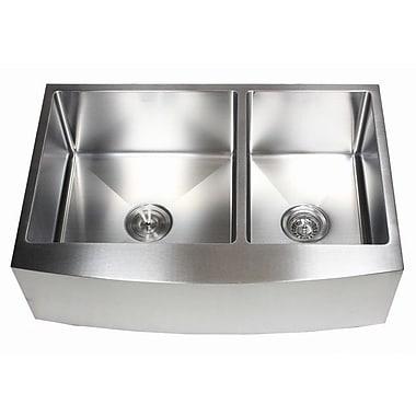 eModern Decor Ariel 33'' x 21'' 60/40 Double Bowl Farmhouse Kitchen Sink