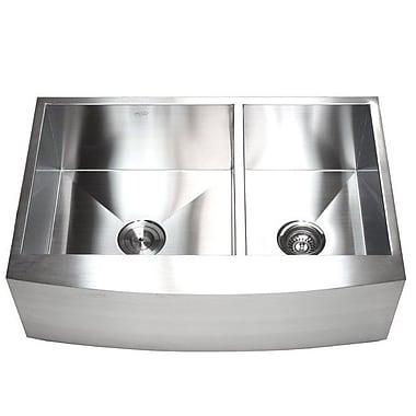 eModern Decor Ariel 33'' x 22'' Double Basin Farmhouse Kitchen Sink