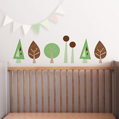 Trendy Peas Mini Trees Wall Decal; Grass Green / Espresso