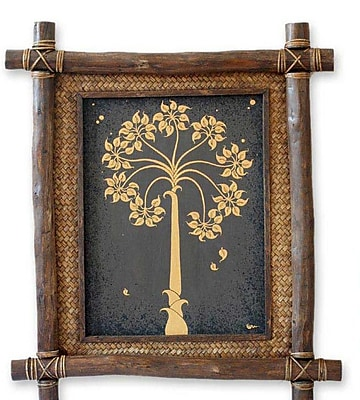 Novica Golden Bo Tree by Parinya Nanjai Framed Graphic Art